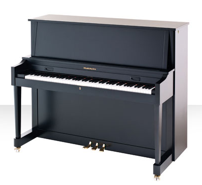 Black baldwin upright piano corner