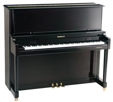 Black upright baldwin piano