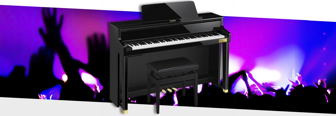 Black Casio Piano with graphic