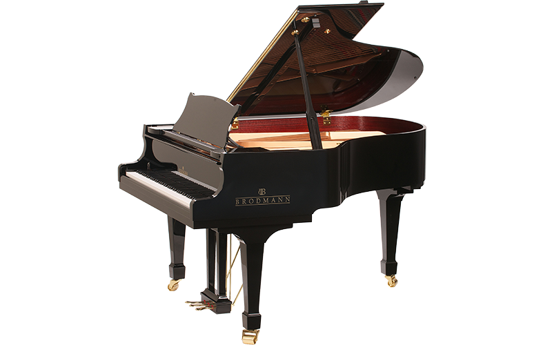 Black Brodmann piano side view