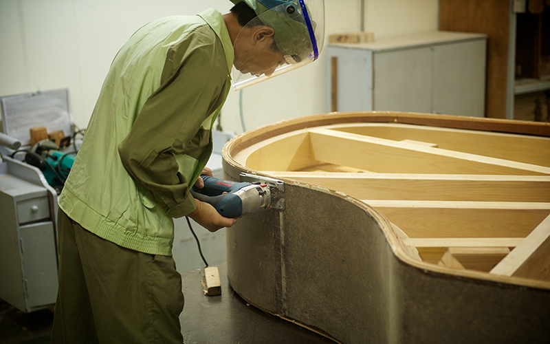 Piano being built