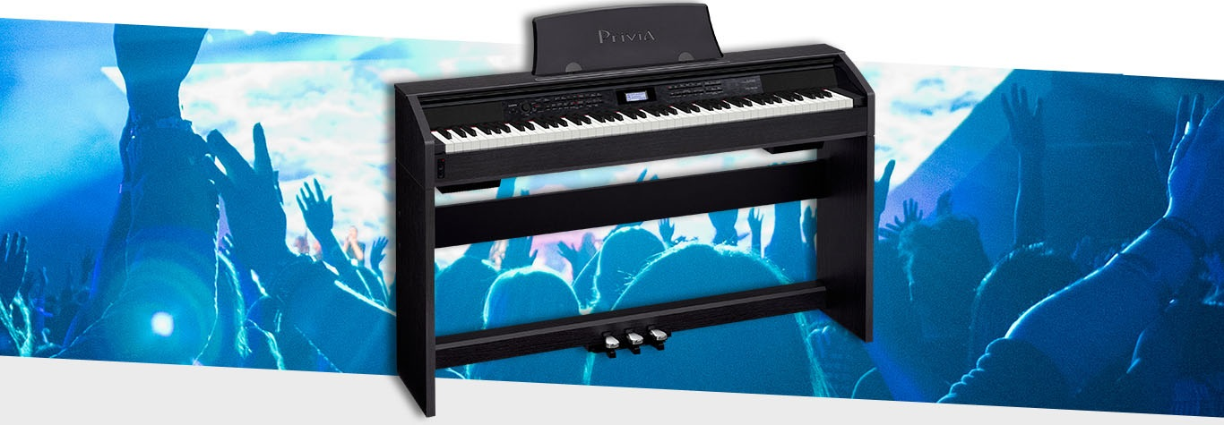 Black electric piano blue graphic