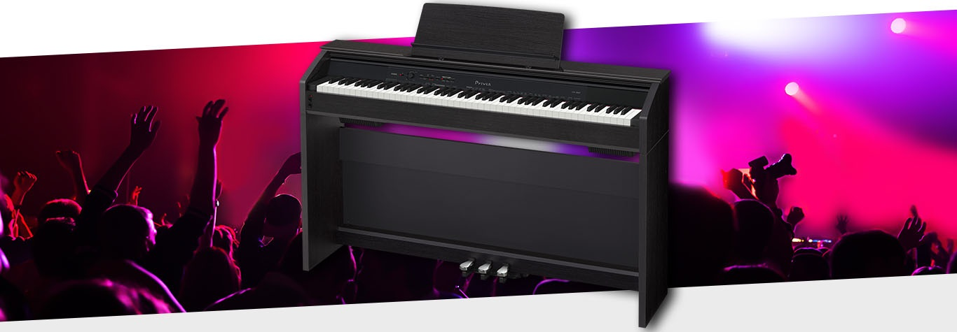 Black electric piano red graphic
